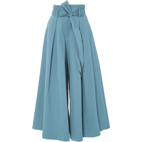 Temperley London     Blueberry Tailored Ruffle Culottes ($595) ❤ liked on Polyvore featuring pants, capris, blue, wide-leg trousers, frilly pants, blue crop pants, blue trousers and blue wide leg pants