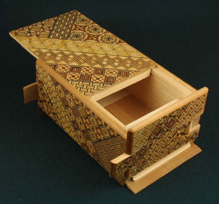"The Himitsu-Bako (Personal Secret Box) are designed so that they can be opened only by the creator of the box or its owner. Some boxes rely on a secret pressure point or ""kannuki"" built into the sides or lid of the box to open them, while others require a precise sequence of consecutive moves to release the internal locking mechanism."