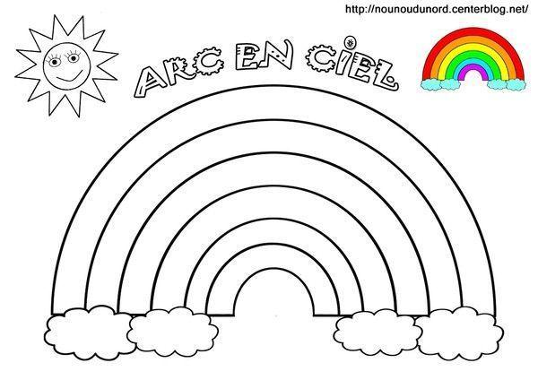 Arc En Ciel A Colorier A Gommettes Et En Couleur Coloriage Arc En Ciel Arc En Ciel Dessin Coloriage