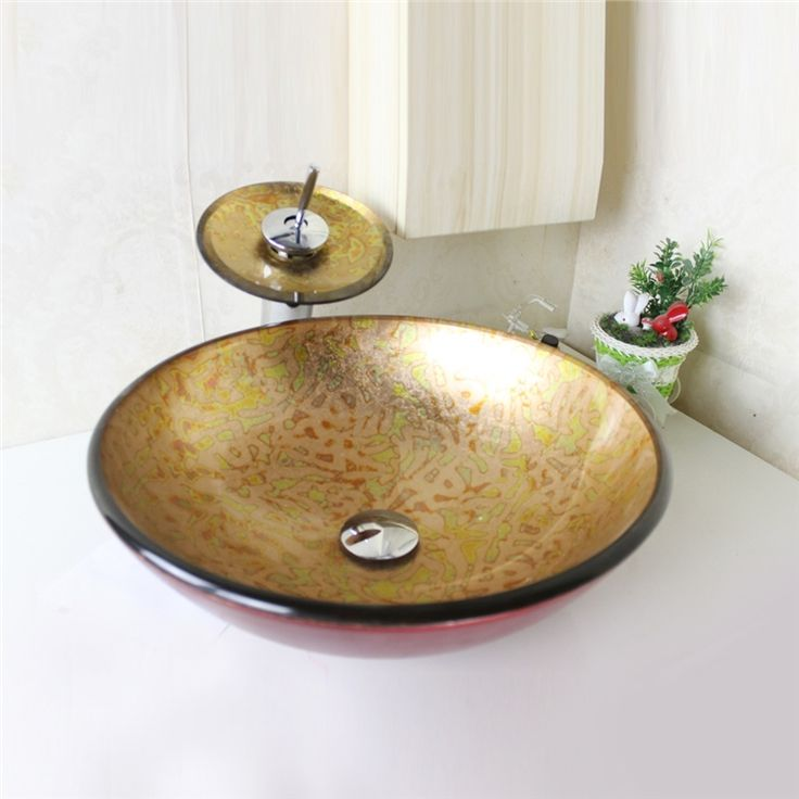 彩色上絵洗面ボウル&蛇口セット 洗面台 洗面器 手洗器 手洗い鉢 排水金具付 円形 SFS669
