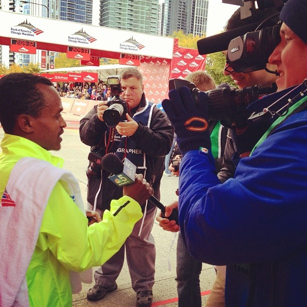 Yes- you just won the marathon and set a new course record- you can definitely hold your own mic! Tsegaye Kebede has his first interview with Stefan Holt.
