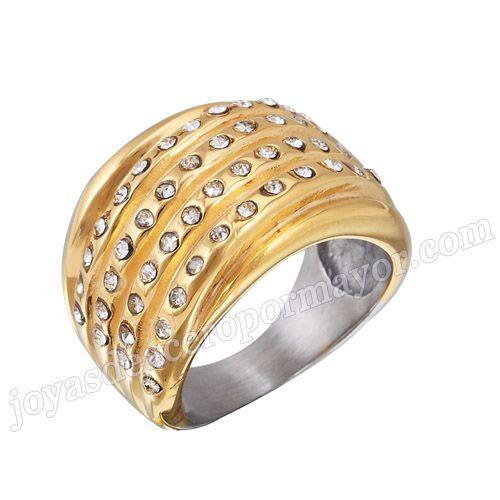 Material: Acero Inoxidable   Nombre:Anillo oro, acero inoxidable con diamante, nuevo modelo   Model No.:SSRG097   Peso:8.4G