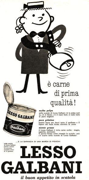 La pubblicità della carne in scatola Lesso della Galbani negli anni '60