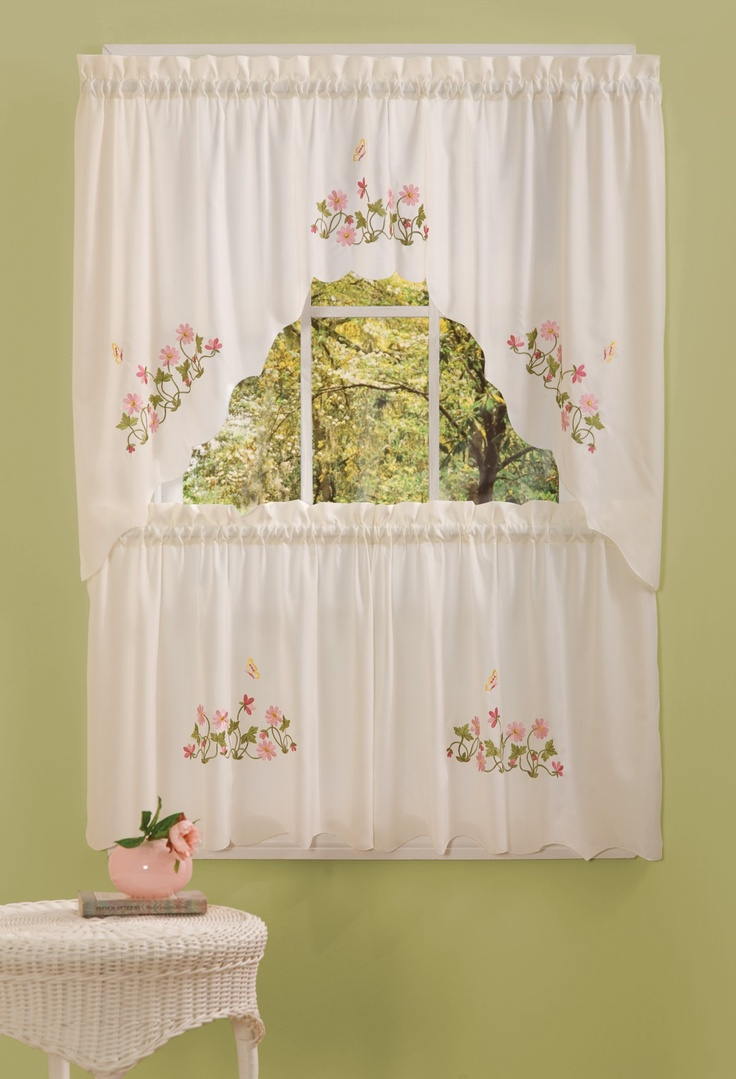 Piece kitchen curtain swag amp tiers set turquoise beige 60x36 amp 30x36 - Molly Emb Kitchen Curtain 58x36