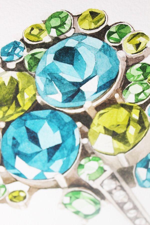 Watercolor jewelry on Behance