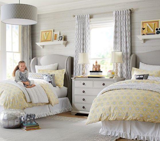 Addison Flocked Blackout Curtain Grey Bedroom Design