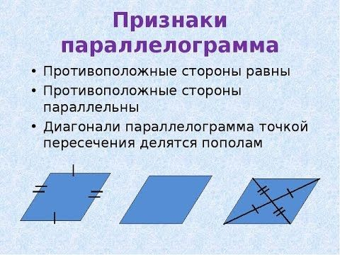 Признаки параллелограмма . Знания по математике