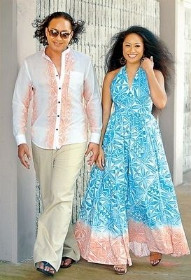 Samoan Dresses Design   ... hand-printed the fabric in a design inspired by her Samoan culture