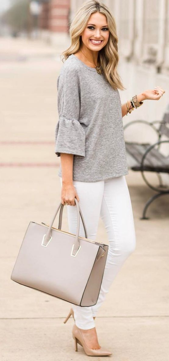 Neutral outfit.