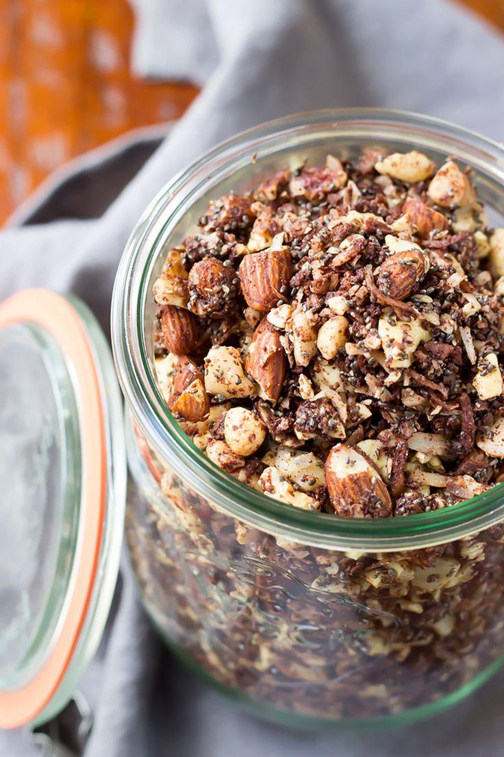 3. Paleo Chocolate Fudge Coconut Granola #healthy #granola #recipes http://greatist.com/eat/homemade-granola-recipes-that-are-healthy