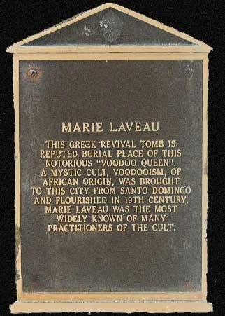 Marie Laveau's tomb plaque. St Louis Cemetery #1, New Orleans, LA.