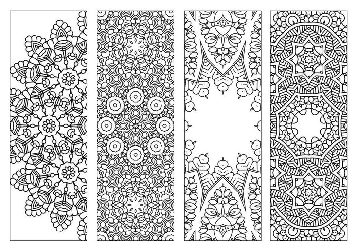4 bookmarks printable intricate mandala coloring pages for Bookworm bookmark template