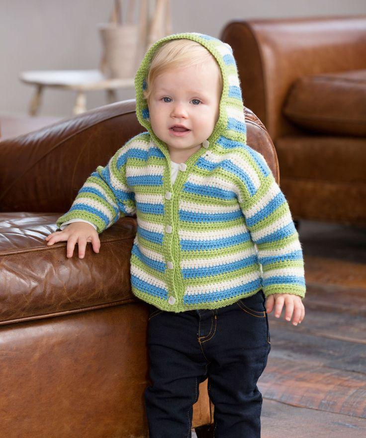 Häkle diese entzückende geringelte Kapuzenjacke für deinen Schatz. Das weiche Garn ist waschbar und die Jacke ganz einfach zu häkeln.