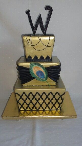 Gold black lace pearls peacock feather wedding cake created by MJ www.mjscakes.co.nz in sunny #hawkesbay delivered to the famous Mission Estate Winery