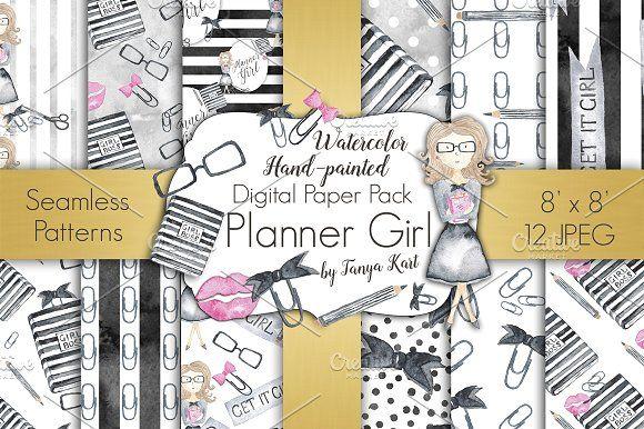 Planner Girl Digital Paper Pack by Tanya Kart on @creativemarket