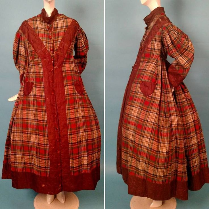 1860s Plaid wool wrapper with silk trim. (The collar looks like a later add on or it is displayed wrong.)