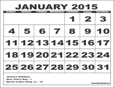 January 2015 Calendar Printable | More calendar printables including 3 month and 3 year calendars ...