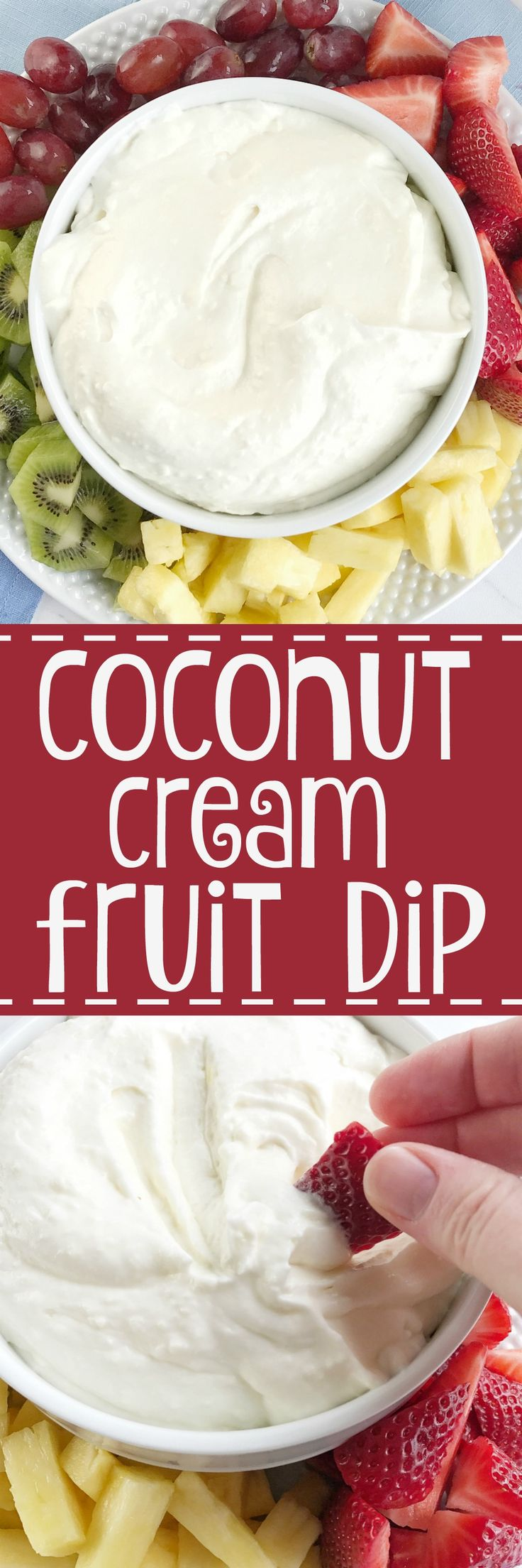 Coconut cream fruit dip is loaded with creamy coconut flavor and it's only 4 ingredients! It's so light and is the perfect summer fruit dip. Serve it with your favorite fresh fruit.