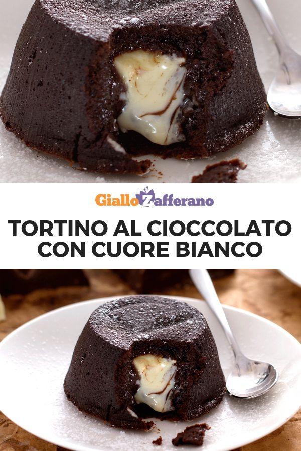 Tortino al cioccolato con cuore fondente bianco