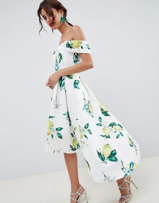 eb874ff7fab DESIGN Lemon Print Bardot Cold Shoulder Dip Back Midi Prom Dress ...