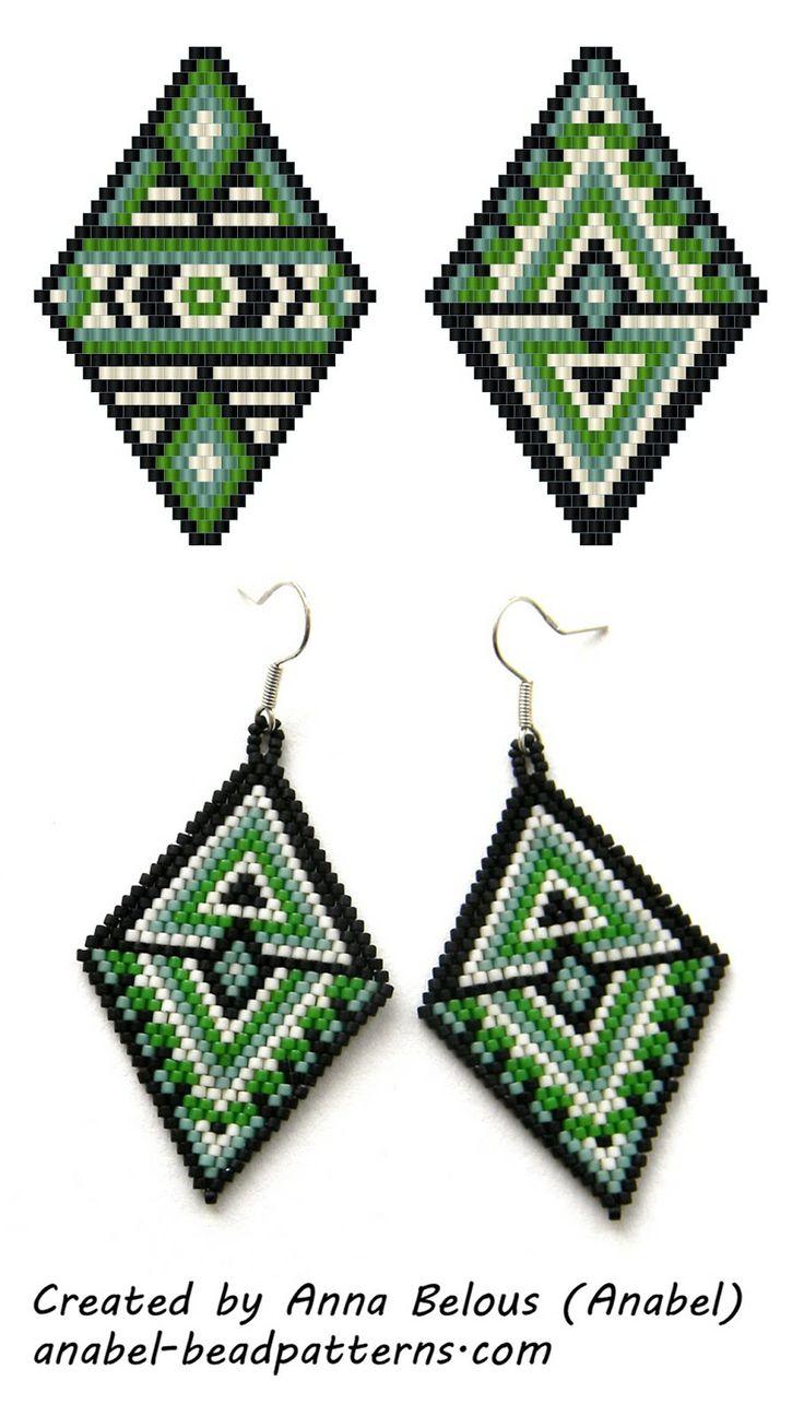 Schemes of large diamond-shaped earrings - tiling / brick weave - free peyote pattern