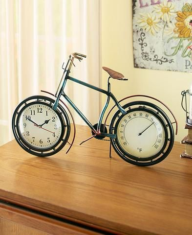 VINTAGE STYLE METAL FREE STANDING BICYCLE CLOCK AND THERMOMETER