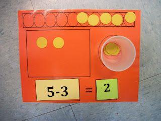 Great subtraction mat from Spotlight on Kindergarten!