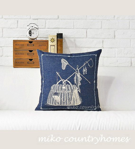"$15 | Nautical Inspired | Decorative Throw Pillow Cover | Rustic Fishing Decor | 45x45cm 18""x18"" #homedecor #throwpillows #pillowcover #nauticalpillows #nauticaldecor"
