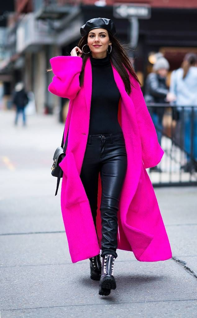 63a52c75f3 Victoria Justice from Best Celeb Street Style From NYFW Winter 2018 The  influencer is badass in leather pants