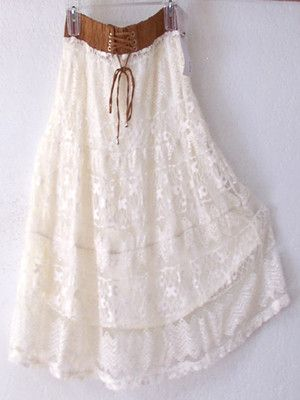 NEW~LAPIS~Ivory Cream Beige Lace Peasant Boho Prairie Dress-Skirt~4/6/2/S/Small