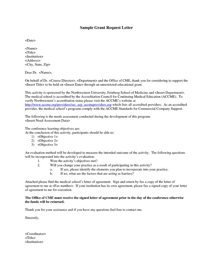 GRANT REQUEST LETTER - Write a Grant Request Letter. Private funding is often available without ...