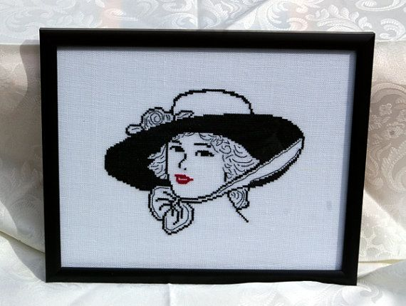 1920s Lady Picture Framed Cross Stitch Black by BlueTopazStitchery, $40.00