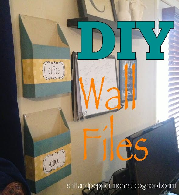 A cereal box covered in scrapbook paper to organize papers and files. Could also cut it on the side instead of the front to make it a magazine holder!  Salt and Pepper Moms: DIY Wall Files w/Printable Labels