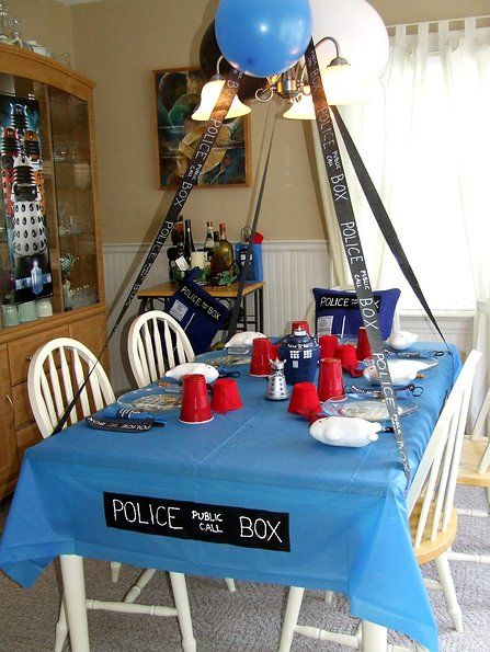 Doctor Who Party Table. Someday, I will have a doctor who party, and It will be awesome from all the pins I have pinned.