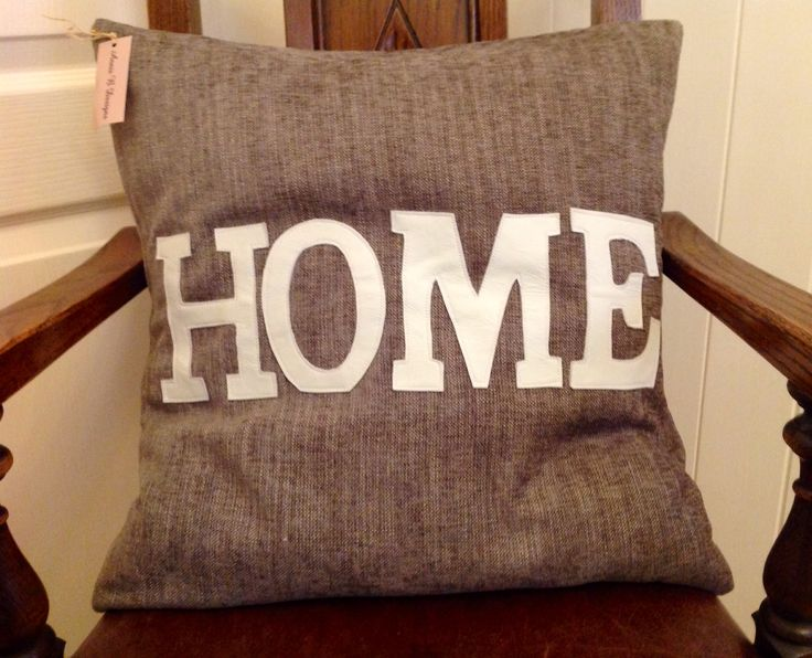 """18"""" square feather inner cushion with real leather lettering"""