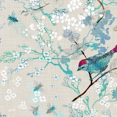 Birds   the Bees  (Aqua) fabric by nouveau_bohemian on Spoonflower - custom fabric