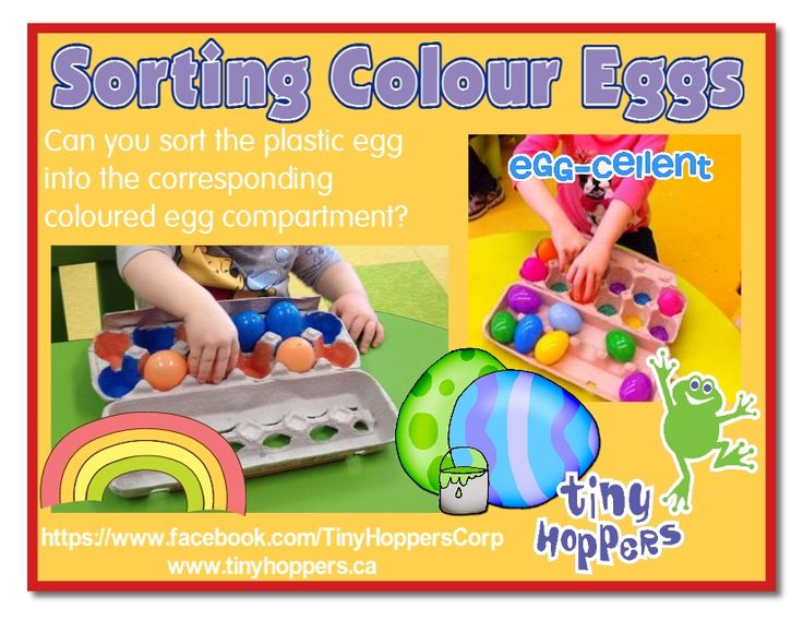 What an easy and fun way to practice recognizing and sorting colours.  Collect some empty egg cartons and paint the inside of each cup a dif...