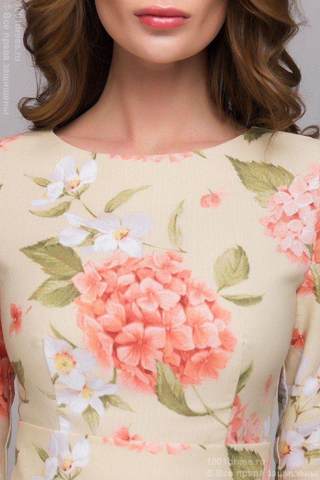 Ванильное платье длины миди с цветочным принтом и длинными рукавами 3