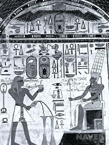 아몬신 앞의 투트메스 3세    18왕조, 석회암, 채색, B.C. 1600년경, 폭 150cm,   투트메스 3세의 성당의 벽화 소장    촉각상을 이용    앵크십자가의 출현  호루스의 눈  상하 이집트의 상징, 독수리와 뱀  피라미드 (태양신)