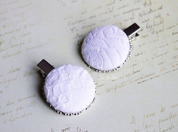White hair clip Wedding hair pin Lace hair clips by chezviolette