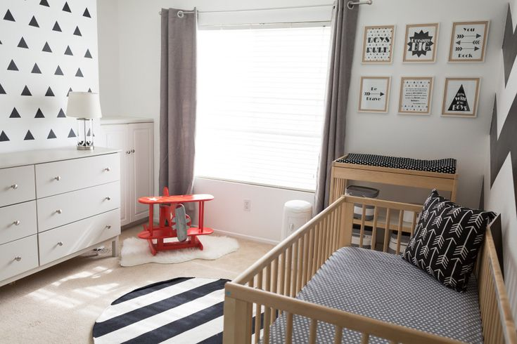 Modern Black and White Monochrome Nursery - great mix of patterns and bold design!