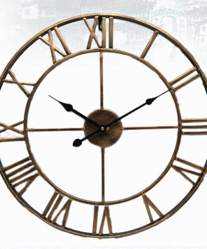 Nordic Roman Numeral Metal Wall Clocks Retro Hollow Iron Round Art Black Gold Large Outdoor Garden Clock Home Decoration 40 47cm In 2020 Metal Wall Clock Clock Clock Decor