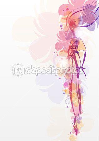 Девушка с цветами. Мода фон