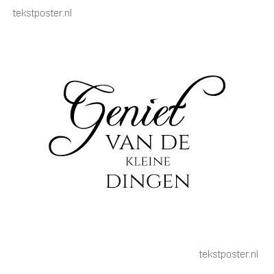 Geniet van de kleine dingen. Http://www.Tekstposter.nl