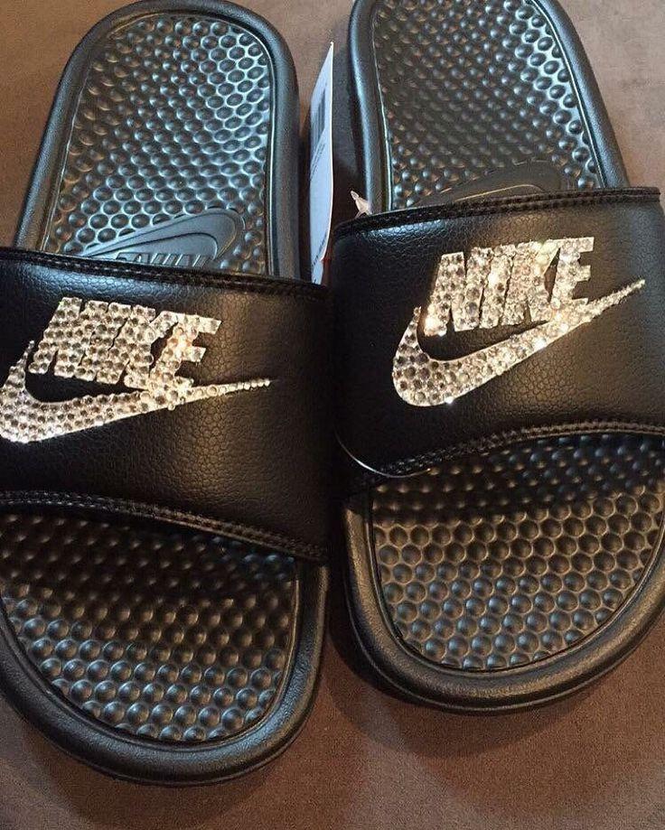 Custom Nike Slippers Swarovski Crystals by CherrySodaBoutique on Etsy https://www.etsy.com/listing/290082887/custom-nike-slippers-swarovski-crystals