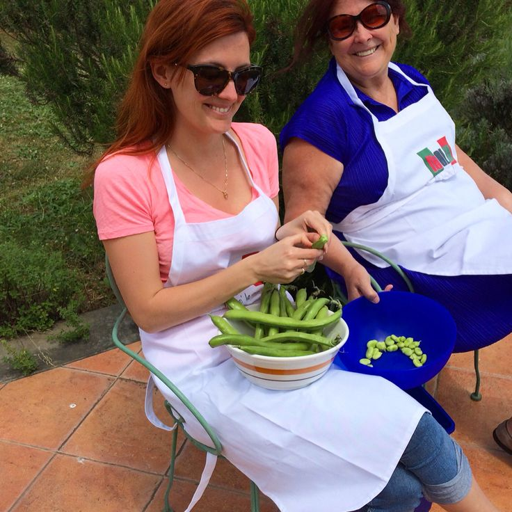 Flavor of Italy cooking students decided to work on the fava beans outside to take advantage of the beautiful day!