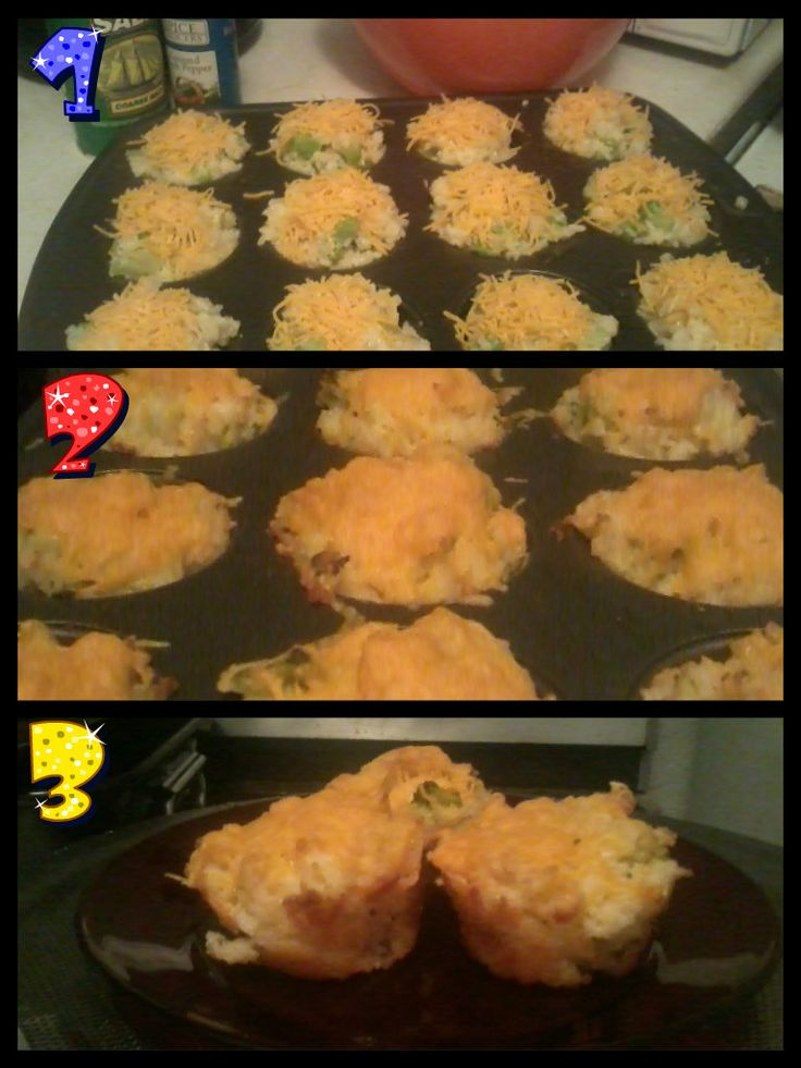 Baked Cheddar Broccoli Rice Cups - Loved!