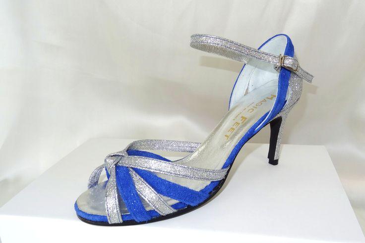 Céline BUSSY chaussure de danse, modèle Joanne / Sibyl, pailleté argent et daim bleu. Salsa,  bachata, kizomba