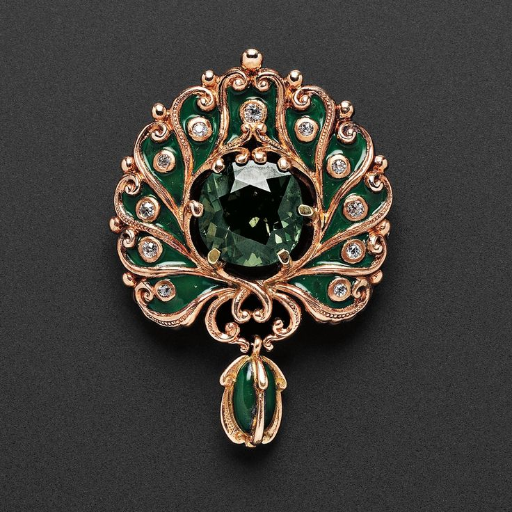 Art Nouveau 18kt Rose Gold and Alexandrite Pendant Brooch, Marcus & Co.