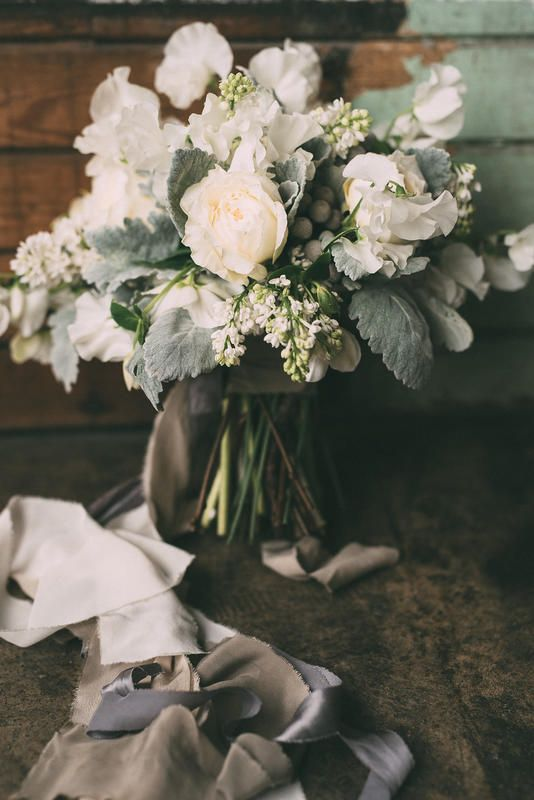 Greyed jade and white bridal bouquet